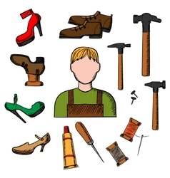 Shoemaker with tools and shoes vector