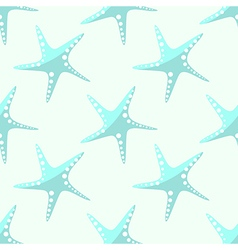 Pattern with starfish on the white backdrop vector