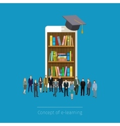 Online mobile library in smartphone vector