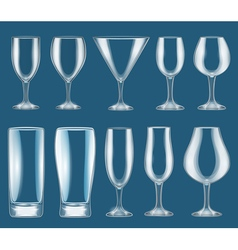 Set of glass wine glasses vector