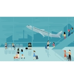People at airport travel activities vector
