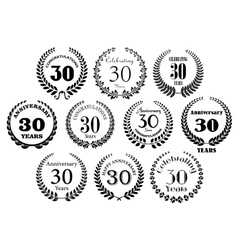 Retro 30th years anniversary laurel wreaths vector