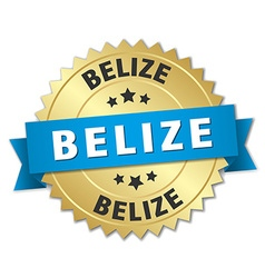 Belize round golden badge with blue ribbon vector