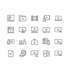 Line video icons vector