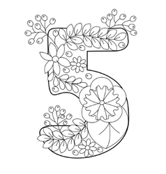 Number 5 coloring book for adults vector image