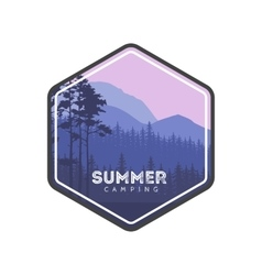 Summer camping label hiking family vacation in vector