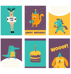 animal cards vector image vector image