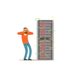 anxiety technical specialist repairing server vector image