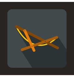 Beach chaise icon in flat style vector
