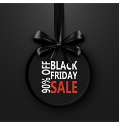 Black Friday banner with bow ribbon design vector image
