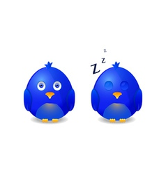 blue awake and sleeping bird vector image vector image