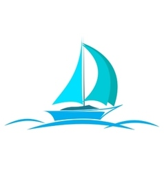 blue logo yacht on the sea vector image vector image