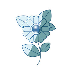 Blue shading silhouette of abstract sunflower with vector