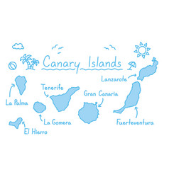 Canary islands map hand drawing doodle outline vector