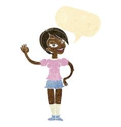 cartoon waving woman with speech bubble vector image