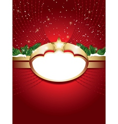 christmas background with blank label vector image vector image