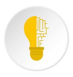 circuit board inside light bulb icon circle vector image