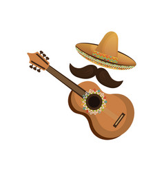 colorful acoustic guitar musical with hat and vector image