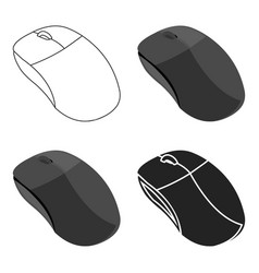 computer mouse icon in cartoon style isolated on vector image