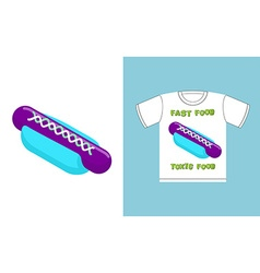 Fast food - toxic food hot dog in acid colors ab vector