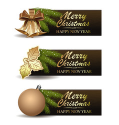 Festive banners set for christmas and new year vector