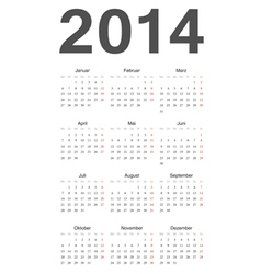 German 2014 year calendar vector image vector image