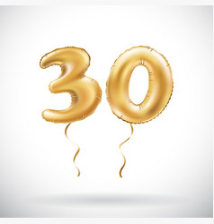 Golden number 30 thirty metallic balloon party vector