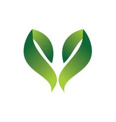 Green leaf hearth 3d logo vector