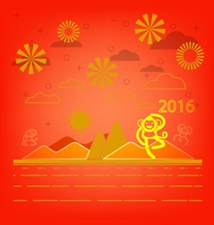 Happy monkey year for Chinese New Year vector image vector image