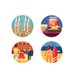 holidays in spain set icons vector image vector image