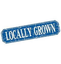 Locally grown blue square vintage grunge isolated vector