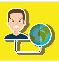 man cartoon globe planet connected vector image