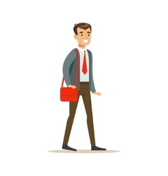 Man in jacket and tie going to work with handbag vector