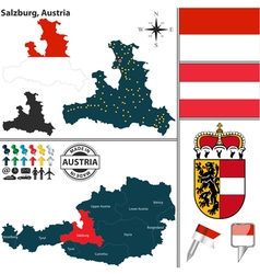 Map of Salzburg vector image