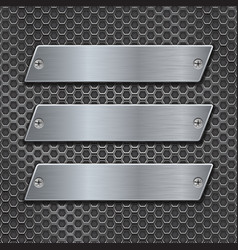 Metal plates on iron perforated background vector