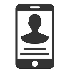 Mobile person details flat icon vector