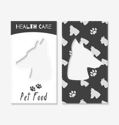 Pet food shop business cards vector