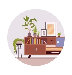 Retro interior with a sideboard bookcase vector
