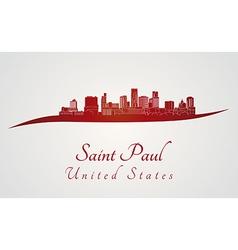 Saint paul skyline in red vector