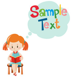 Sample text template with girl reading vector