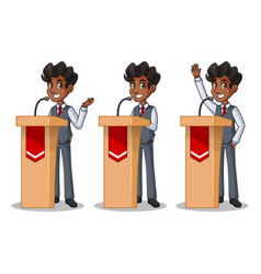 set of businessman in vest giving a speech behind vector image