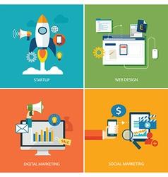 set of digital marketing vector image vector image