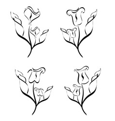 set of flower silhouette vector image