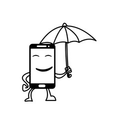Smiling smart phone hold umbrella vector