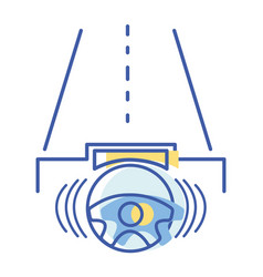 steering wheel futuristic car in the road vector image vector image