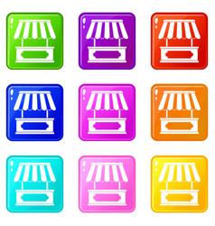 Street kiosk icons 9 set vector
