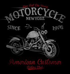 t-shirt print with motorcycle on dark background vector image
