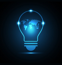 technology future world map light bulb vector image vector image