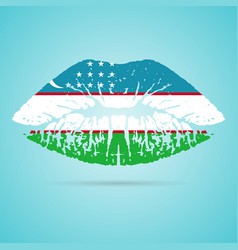 uzbekistan flag lipstick on the lips isolated on a vector image
