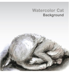 Watercolor cat - vector